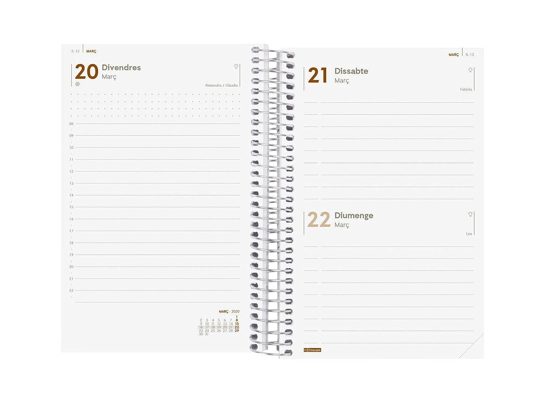 Finocam - Agenda 2020 1 día página Espiral Year Rojo español