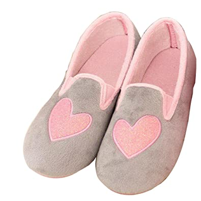 8966bc9b5fd Amiley Women s Casual Love Heart Slip-on House Slippers Flats Anti-slip  Shoes (