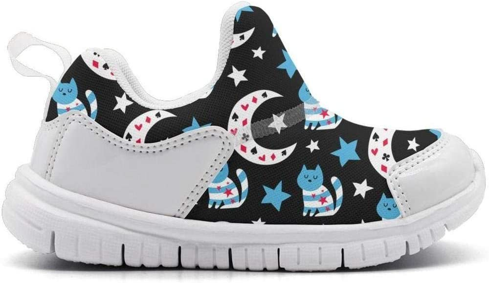 ONEYUAN Children Sleeping cat and Stars Kid Casual Lightweight Sport Shoes Sneakers Walking Athletic Shoes