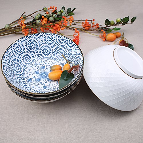 40-Ounce Porcelain Soup,Salad,Pasta Serving Bowls, Assorted Floral Patterns, Stackable Deep Bowl Set of 4 by YALONG (Image #3)