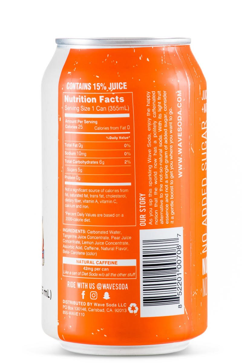 amazon com wave soda sparkling juice tangerine 12 ounce cans