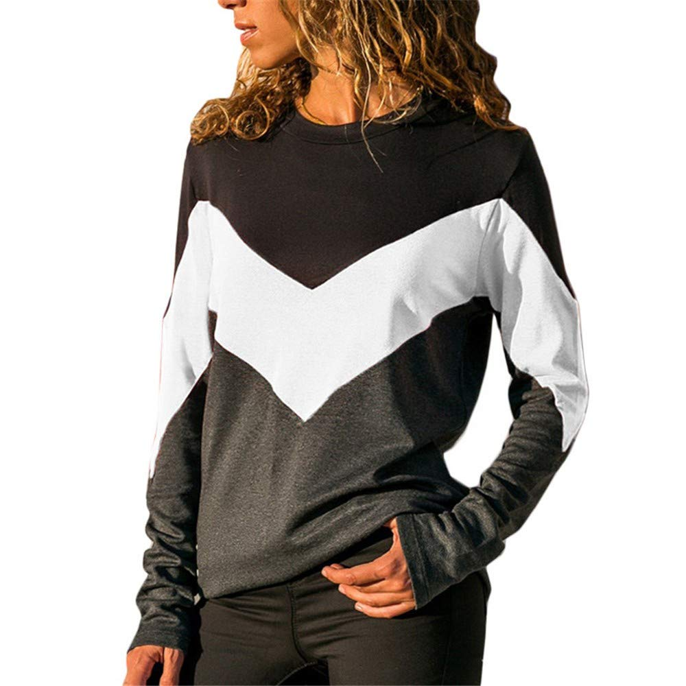 ODGear Women Hooded Winter Autumn Contrast T-Shirt Color Long Sleeve Button Casual Slim Tunic Tops
