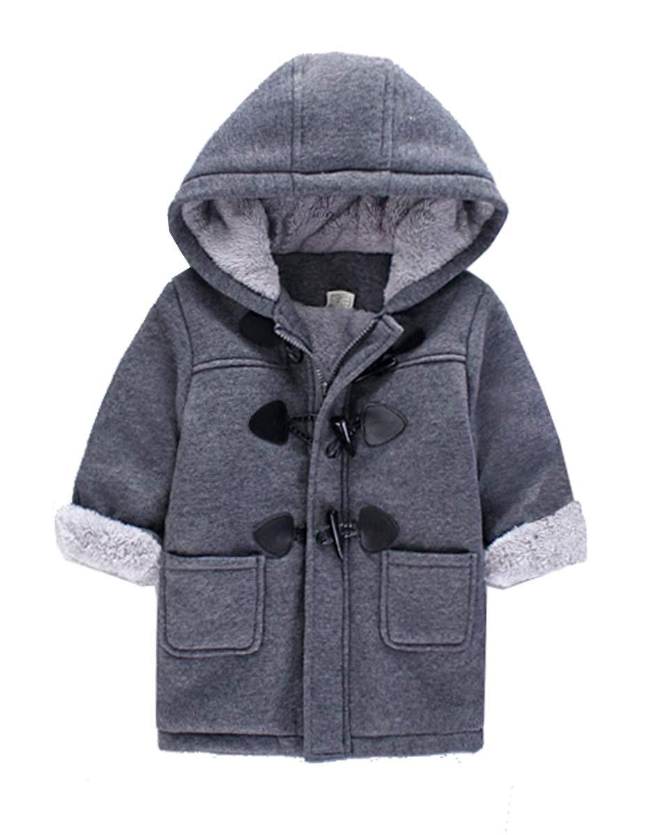 Qinni-shop Baby Little Boys Girls Brown Gray Hooded Duffle Wool Coat Winter Warm Jacket (Gray, 5)