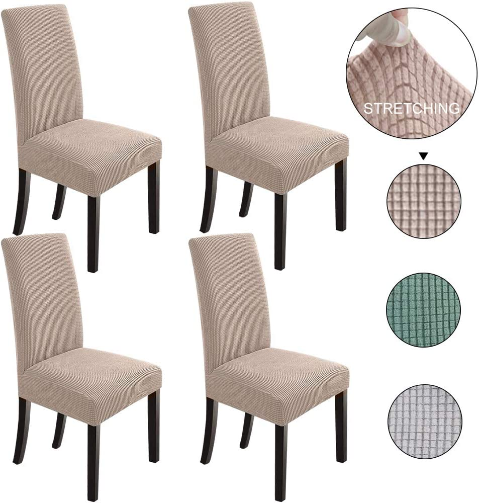 NORTHERN BROTHERS Dining Chair Covers Set of 4 Stretch Chair Covers Parsons Chair Slipcover Chair Covers for Dining Room Khaki