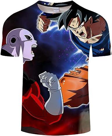 XJXTX Camisetas 3D Cuello Redondo Camisa Manga Unisex Corta Dragon Ball Super Goku Jiren: Amazon.es: Ropa y accesorios