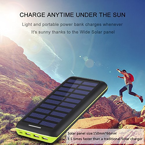 Power Bank Portable Solar Charger - 22000mAh with Dual Input & 3 USB Output Solar Charger, High-speed Charging Technology Battery Pack for iPhone, Samsung Galaxy and more (green) by Aikove (Image #3)