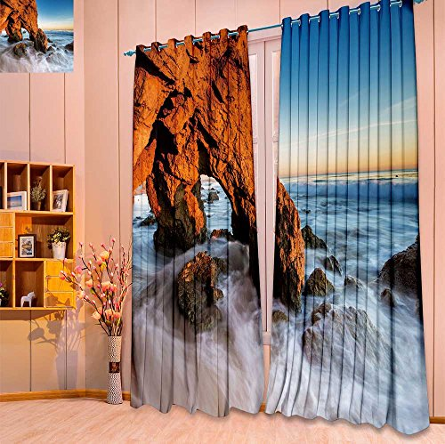 Homesonne Thermal Insulated Grommet Unlined Window Curtains Beautiful Golden cave and Rocks at The El Matador Beach, Malibu at Sunset time Set of Two Panels(W52 x L96 Pair) ()