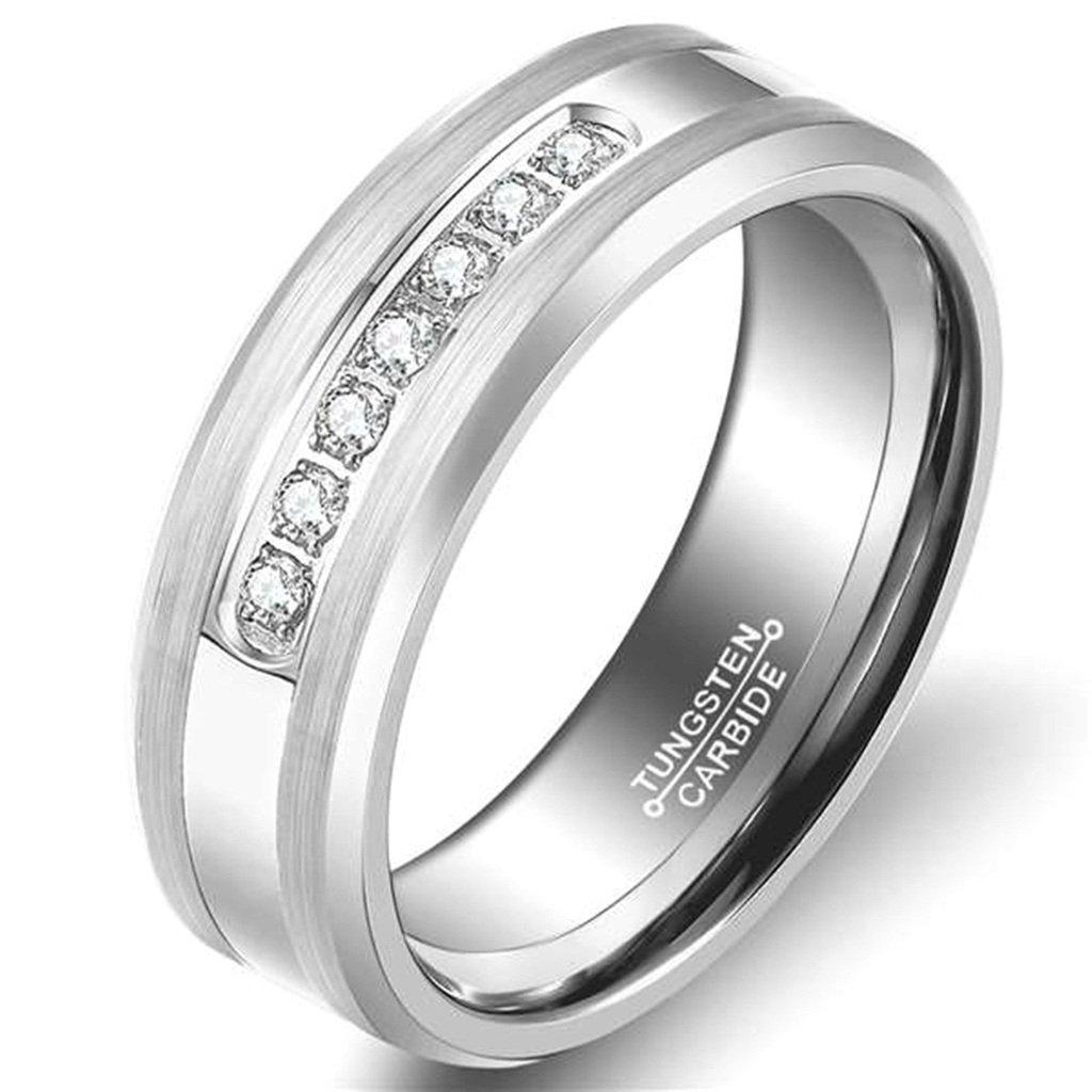Bishilin 8MM Tungsten Men Women Wedding Rings Black Color Size 10