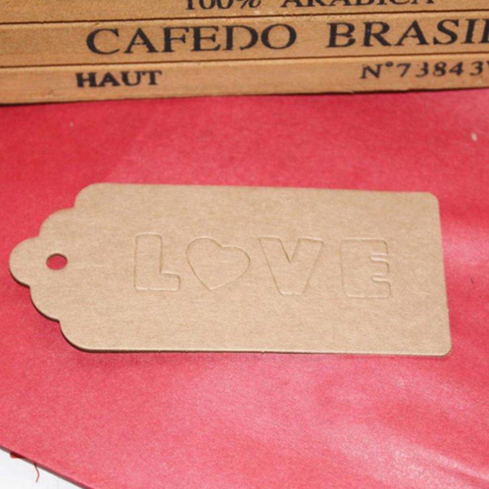 Youkara 100PZ etichette regalo Love Kraft cartellini Handing etichette regalo etichette per regali mestieri biscotti torta
