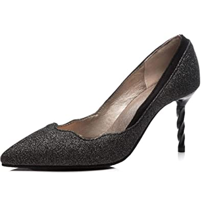 4d9e320d5055 Hanglin Trade Classic Pointed Toe Pumps-Slip on Comfortable Work High Heel  - Wide Fit