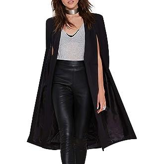 #12 L E M O N Richlulu Women Lightweight Open Front Cloak Cape Trench Coat Longline Blazer