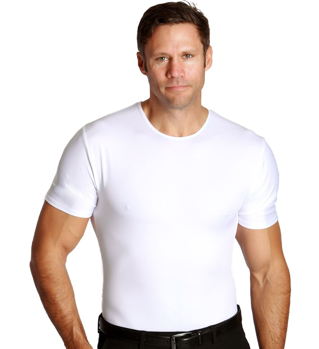 Insta Slim Men's Compression Crew-Neck T-Shirt (Large, White), The Magic Is In The Fabric! by Insta Slim (Image #1)