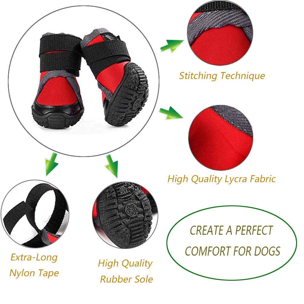 50, Red Petilleur Protector Dog Boots Dog Shoes Anti-skid and Breathable for Outdoor Activities