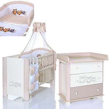 EULEN Creme Babyzimmer Möbel Komplettset Mit Kinderbett 120x60  Wickelkommode 9 Teiligen Bettwäsche Set Beige Weiss
