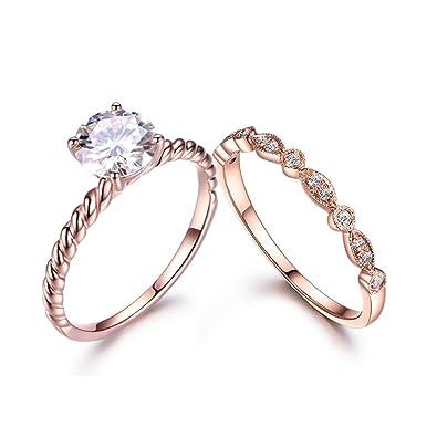 53e0f3ef3c5df6 Amazon.com: MYRAYGEM-wedding ring sets 2pcs Moissanite Ring Set,7mm Round  Stone Plain Band 14k Rose Gold Solitaire,Antique Diamond Bridal Band:  MYRAYGEM: ...