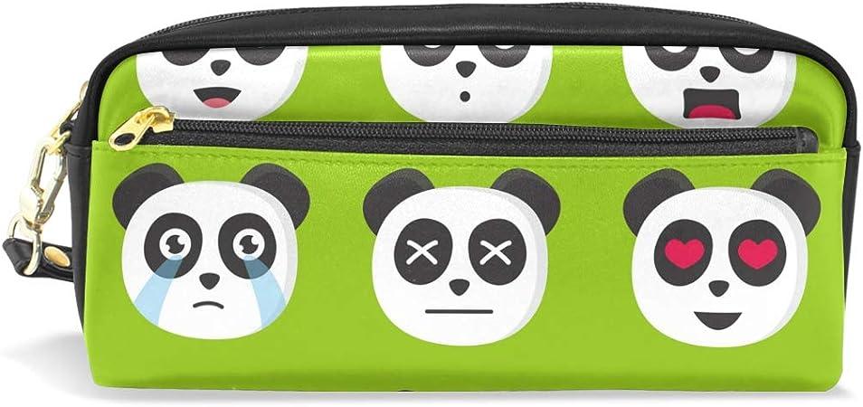 Bonipe - Estuche para lápices de dibujos animados Panda Emoji, estuche escolar, suministros de papelería, viajes, cosméticos, maquillaje bolsa: Amazon.es: Oficina y papelería