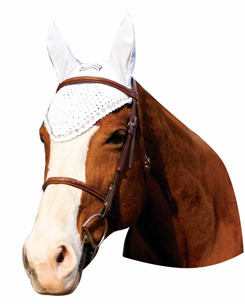 Equine Couture Fly Bonnet with Crystals - Pony Sizes Available | Color - White, Size - Cob