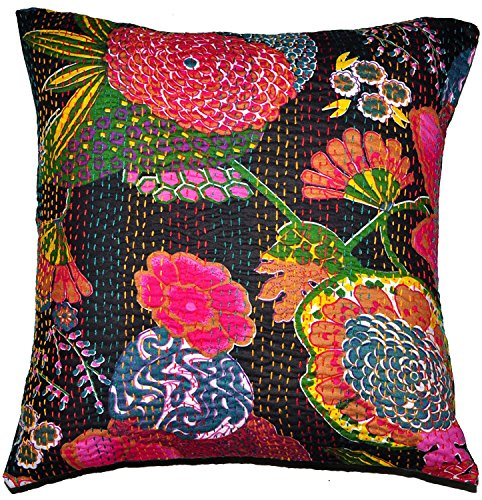 Indian Black Embroidered Handmade Decorative Kantha Pillow -Home Decor Boho Pillow Shame Indian Cotton Cushion Cover Kantha Floral
