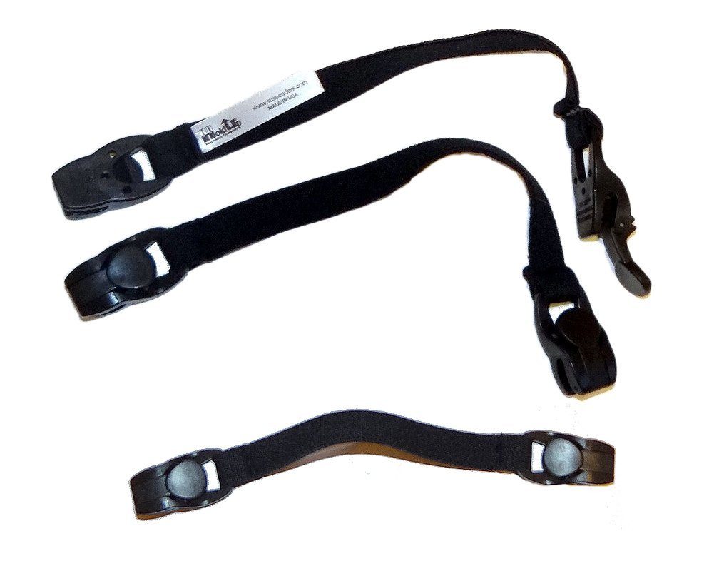 8'' Hat and Scarf Clip Straps with Patented Holdup Gripper Clasps (Black)