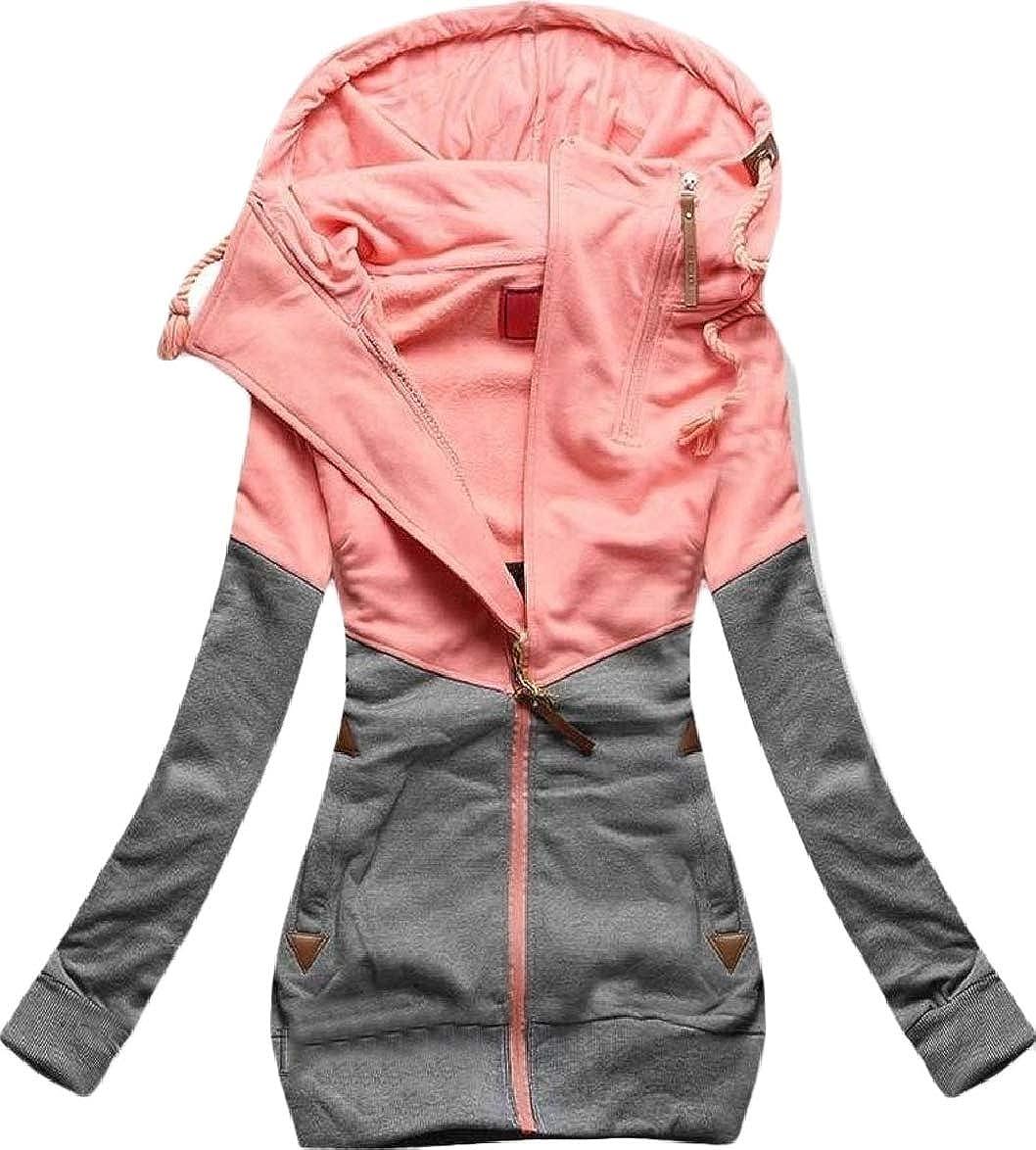 Smeiling-CA Womens Color Block Slim Fit Fleeced Oblique Zipper Hoodie High Neck Coat