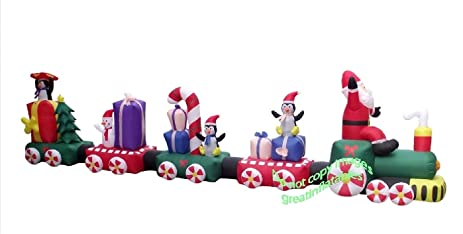 christmas inflatable giant 20 santa train - Santa Train Outdoor Christmas Decoration