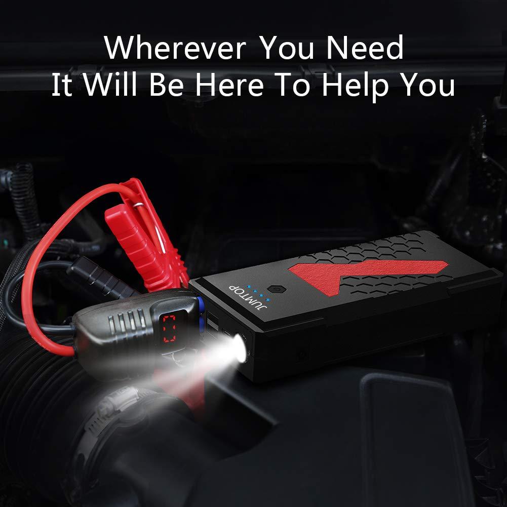 10L Gas//Motore Diesel 8L Booster Batteria Power Starter Jump Starter con Doppia Porta di Ricarica Smart USB e Torcia a LED JUMTOP Avviatore Auto Portatile,3000A Picco 22000mAh