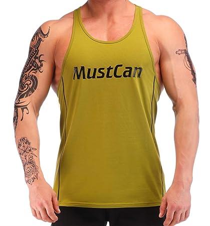 6d434cd40e7667 Image Unavailable. Image not available for. Color  Men s Workout Tank Tops  Gym Y Back Stringer Bodybuilding Fitness Muscle Vest Shirt