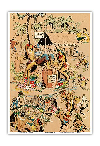 Trader Vics XXX Rum - Vintage Bar Menu Cover by Kay c.1947 - Hawaiian Master Art Print - 13 x 19in