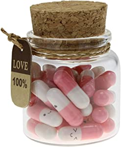 INFMETRY Capsule Letters Message in a Bottle Glass Favor Bottle (Pink 25pcs)