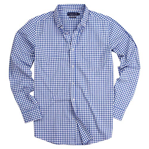 Men's Long Sleeve Slim Fit Button Down Stretch Gingham Plaid Casual Shirt (Big Sky Blue/White, Slim Fit: Large)