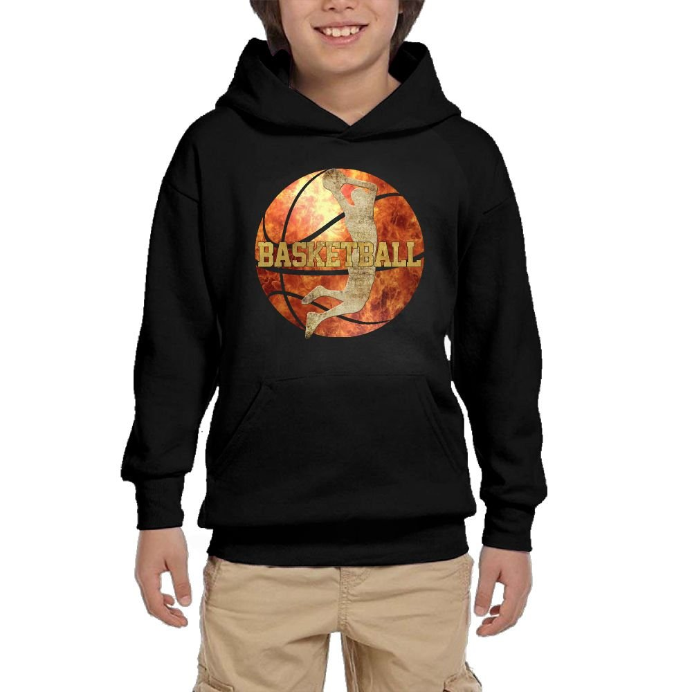 Hapli Youth Black Hoodie Cool Basketball With Copper Player Layup Hoody Pullover Sweatshirt Pocket Pullover For Girls Boys S by Hapli