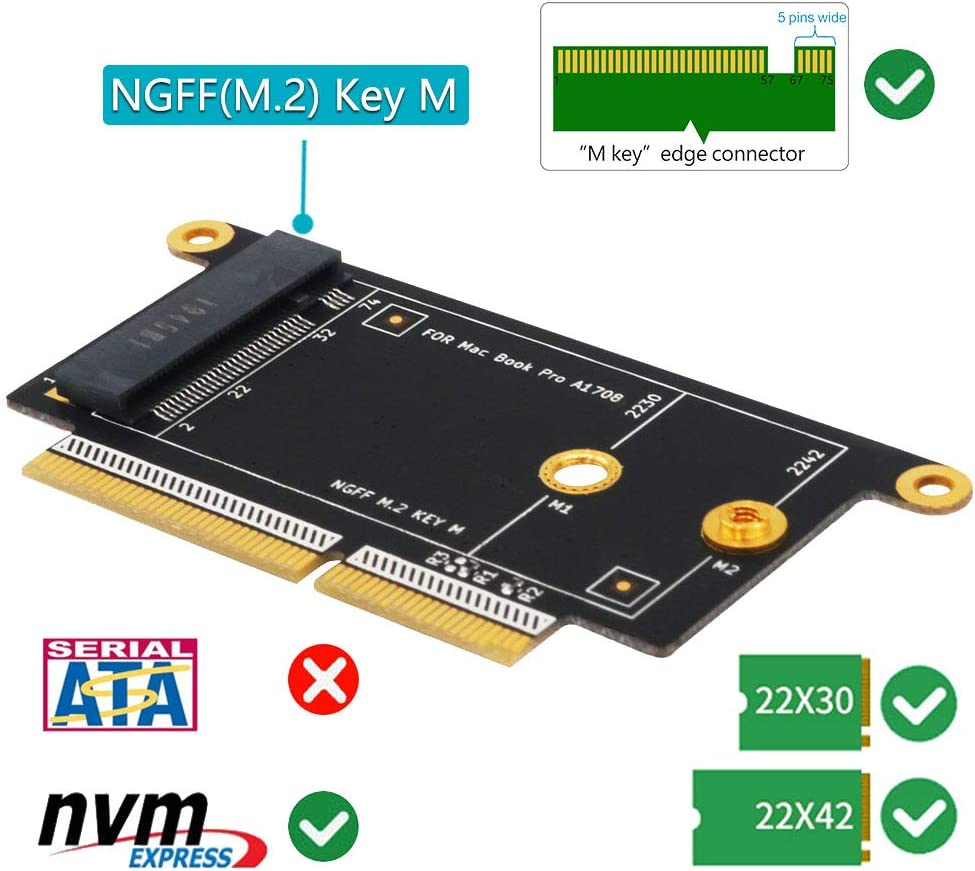 A1708 Adapter Card NGFF M.2 NVMe Key M 2230//2242 Type Adapter for MacBook A1708 Model