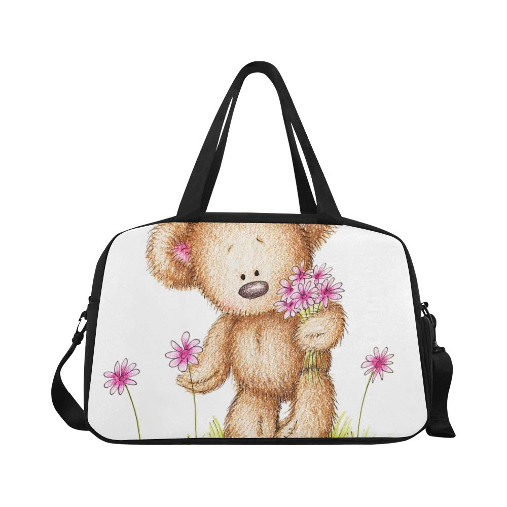 Amazon.com | Cute Drawn Teddy Bear Flowers Custom Large Yoga ...