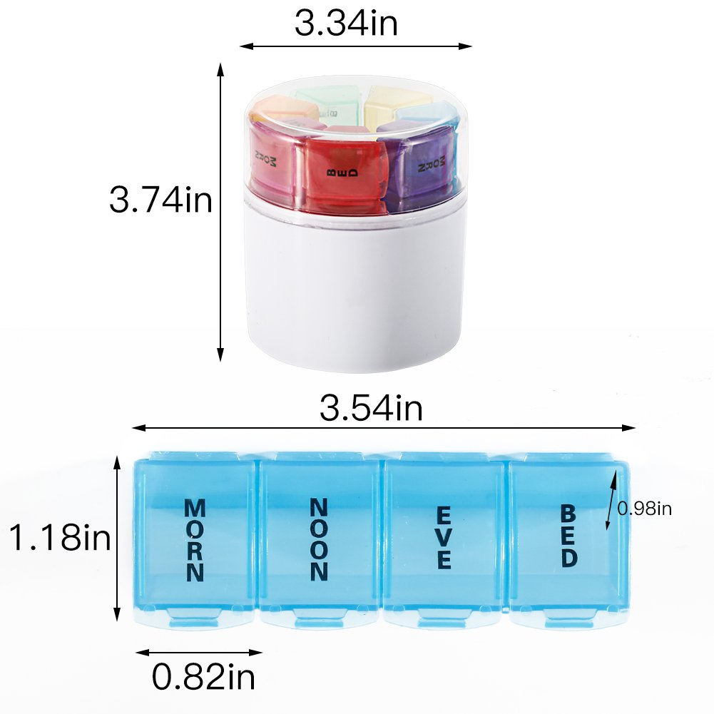 7 Days Pill Organizer Box, GSLL Medicine Remainder Round Small Pill Case 28 Compartments Rainbow Color by GSLL (Image #5)