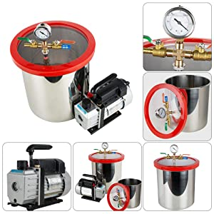 """US Warehouse Delivery 5 Gallon (21 Liter) Vacuum Degassing Chamber Kit 1/4HP 3CFM Pump Hose Stainless Steel Machine,Thick Acrylic Lid 1/2"""" Single Stage Vacuum"""