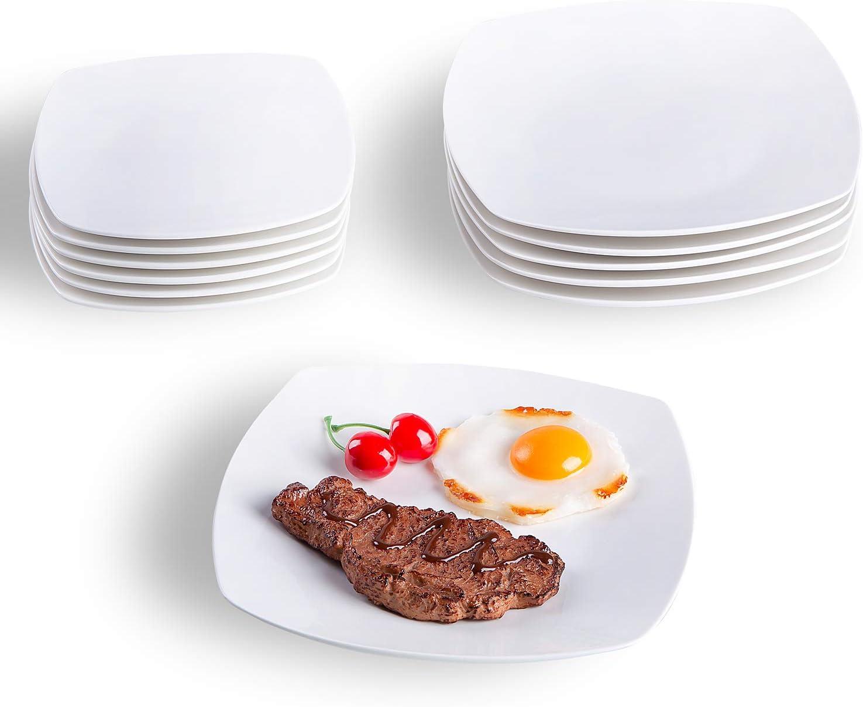 Geschirrset 12 teilig 12 Teiliges Dinnerservice Cutiset Tellerset Porzellan f/ür 6 Personen Speiseteller und Dessertteller