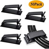 50-Pcs Self Adhesive Cable Management Clips, SOULWIT Cable Organizers Wire Clips Cord Holder for TV PC Laptop Ethernet…