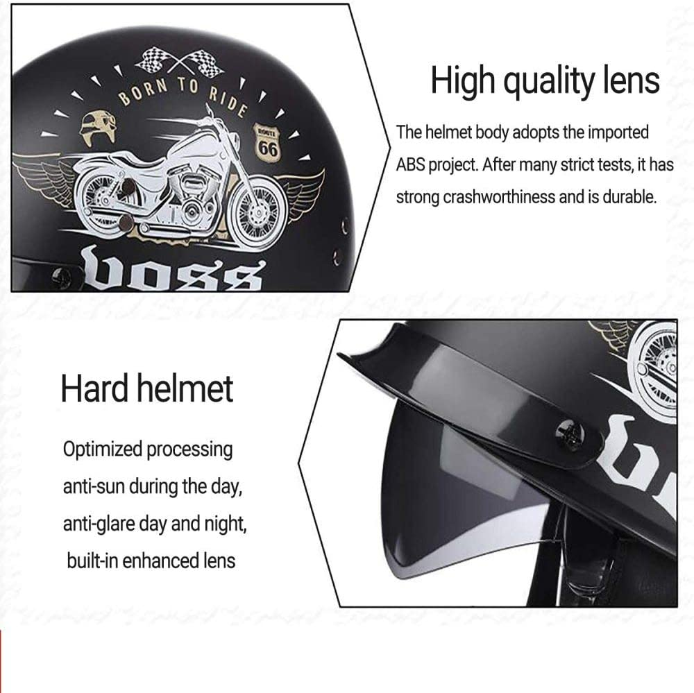 ZHXH Adult Harley Helmet Open Face 4//3 Portable Scooter Motorcycle Helmet//dot Standard Sunshade Safety Helmet
