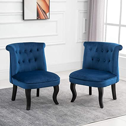 QIHANG-UK Retro Tub Chairs Set of 15, Soft Padded Wing Back Leisure Chiar  Velvet Lounge Sofa Chair, Accent Occasional Chair with Wood Curved Legs for