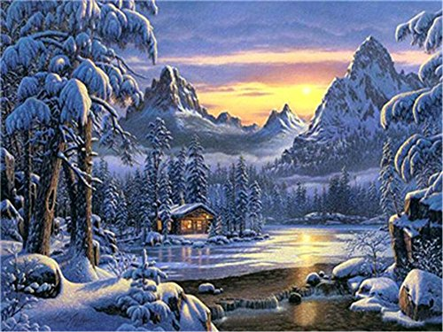 (Diy Oil Painting Paint by Number Kit for Adults Beginner 16x20 inch - Winter Snow Scene Forest Cabin, Drawing with Brushes Christmas Decor Decorations Gifts (Without)