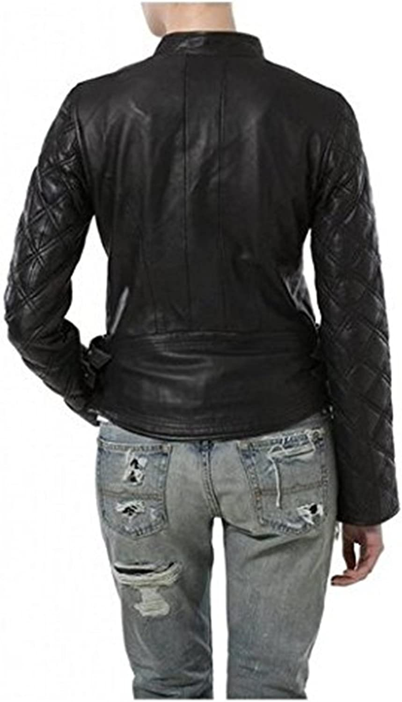 New Womens Leather Motorcycle Biker Jacket Soft Lambskin LTN371