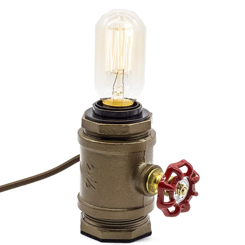 Loft Style Lamp, Steam Punk Industrial Small Night Lamp, Wrought Iron Pipe Table Desk Light Base with Red Valve