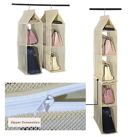 Organizador de armario ropero para colgar compuesto por 4 compartimentos desmontables, transparentes, ahorro de
