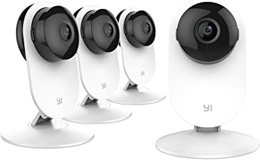 YI 4pc Home Camera, Wi-Fi IP Security Surveillance System with Night Vision for Home, Office, Shop, Baby, Pet Monitor with iOS, Android, PC App - Cloud Service Available