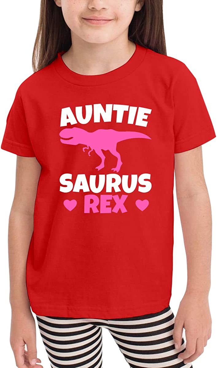 Onlybabycare Auntie Saurus Rex Black Cotton T Shirt Lightweight Breathable Solid Tee for Toddler Boys Girls Kids