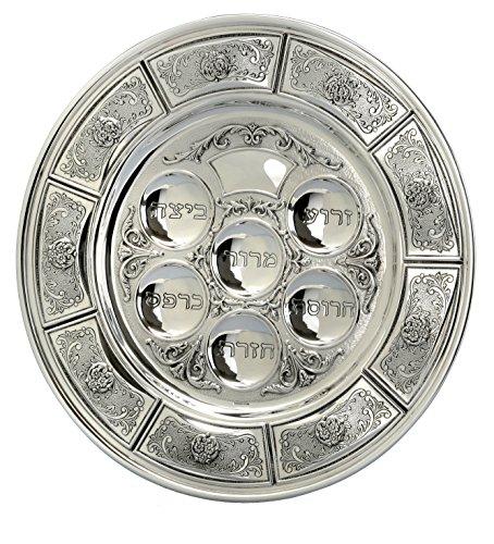 Hazorfim Savion Seder Plate Passover Pesach sterling silver judaica Israel Jerusalem Holy land gift .925 925 seder Jewish holiday hatzorfim by Hazorfim