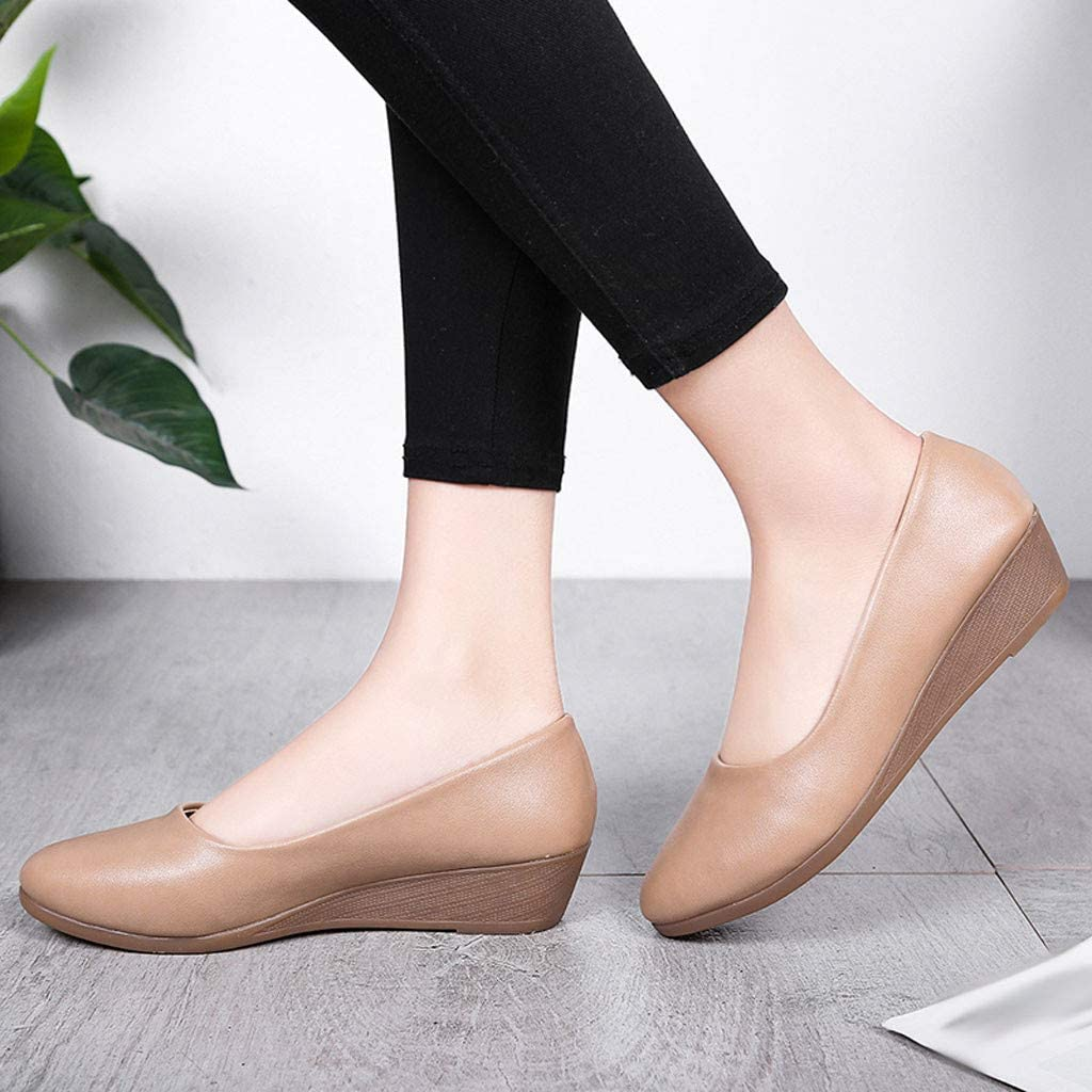 Chaussures Femmes Wedge Casual Round Head Pompes Wild Professional Work Shoes Kaki