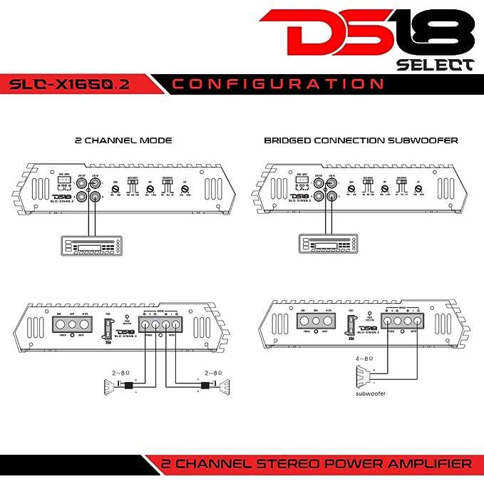 DS18 1650 W 2 Canales de Audio Coche Amplificador de Clase AB de alimentación única: Amazon.es: Electrónica