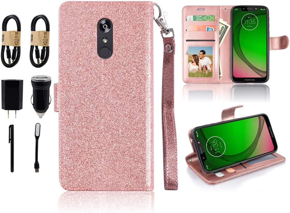 Design for LG Stylo 5 Case, 3 Card 1 Slot Wallet Purse PU Leather with Wrist Strap Bling Glitter Sparkle Case for Girls for LG Stylo 5 Plus [Accessory Pack] (Rose)