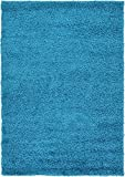 Unique Loom Solo Solid Shag Collection Modern Plush Turquoise Area Rug (4' 0 x 6' 0)